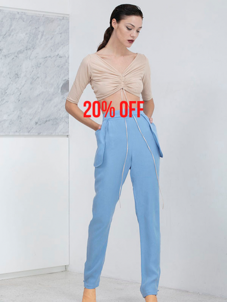 GINZA TROUSERS BLUE 20 OFF