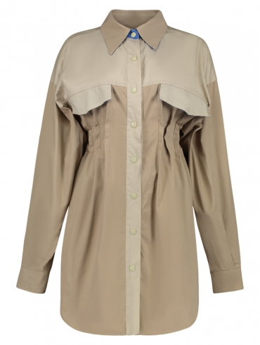PLEATED TWO COLOR SHIRT
